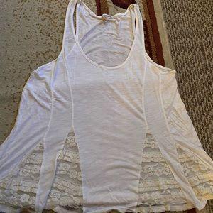 White lace flowy tank top